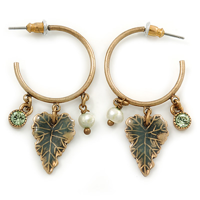 Antique Gold Tone Leaf Hoop Earrings - 40mm L