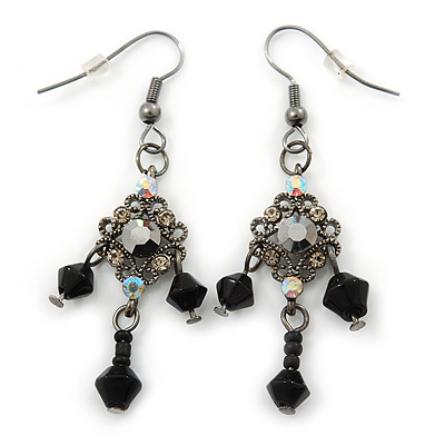 40mm L Hematite Crystal Heart Drop Earrings In Silver Tone