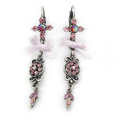 Vintage Inspired Pink Crystal, Lavender Fabric Bow Drop Earrings With Leverback Closure In Pewter Tone - 65mm L