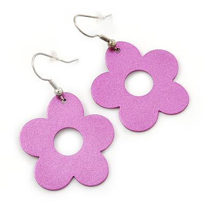 Glittering Pink Open Cut Flower Drop Earrings - 50mm L