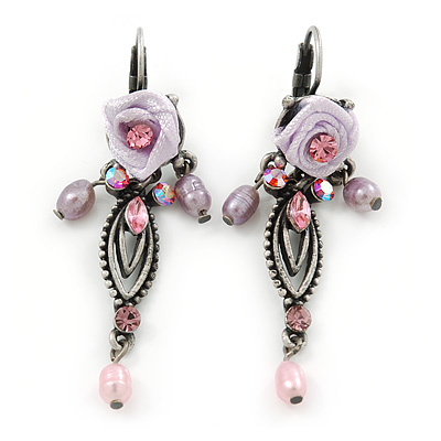 Vintage Inspired Pink Freshwater Pearl, Crystal, Lavender Fabric Rose Drop Earrings With Leverback Closure In Pewter Tone - 55mm L