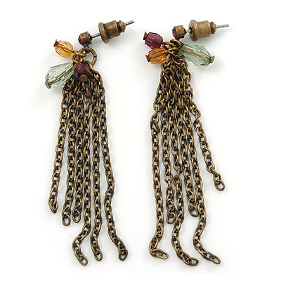 Vintage Inspired Multi Chain Drop Earrings In Bronze Tone - 60mm L