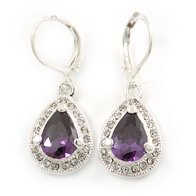 Amethyst/ Clear CZ Drop Earrings With Leverback Closure In Rhodium Plating - 33mm L