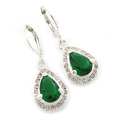 Emerald Green/ Clear CZ Drop Earrings With Leverback Closure In Rhodium Plating - 33mm L