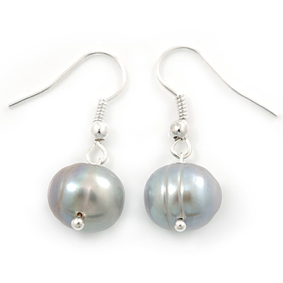 10mm Bridal/ Prom Off Round Light Grey Freshwater Pearl Drop Earrings In Silver Plating - 30mm L