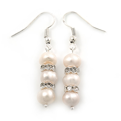 7mm Bridal/ Prom Delicate White Freshwater Pearl With Crystal Ring Drop Earrings In Silver Tone - 43mm L - main view