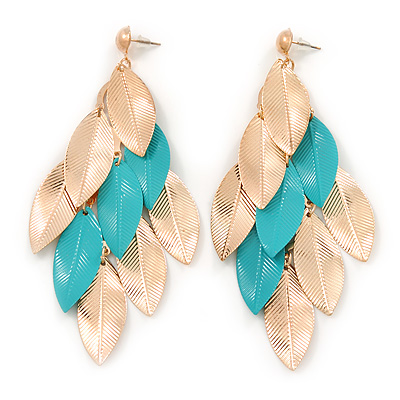 Long Gold/ Teal Green Textured Leaf Chandelier Earrings In Gold Tone - 11cm L