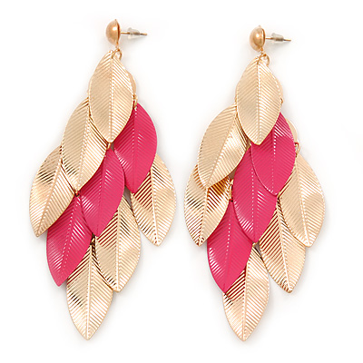 Long Gold/ Pink Textured Leaf Chandelier Earrings In Gold Tone - 11cm L