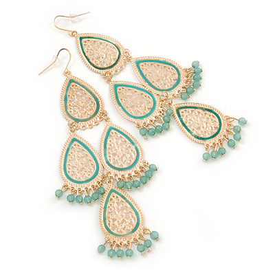 Long Lightweight Filigree, Pale Green Bead Chandelier Earrings In Gold Tone - 12cm L