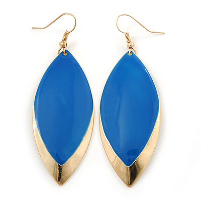 Royal Blue Enamel Leaf Drop Earrings In Gold Tone - 70mm L