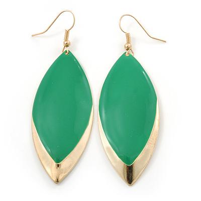Green Enamel Leaf Drop Earrings In Gold Tone - 70mm L