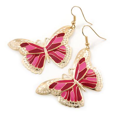 Lightweight Pink Enamel Butterfly Drop Earrings In Gold Tone - 60mm L