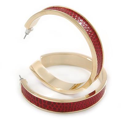 Wide Red Snake Print Faux Leather Hoop Earrings In Gold Tone - 50mm Diameter