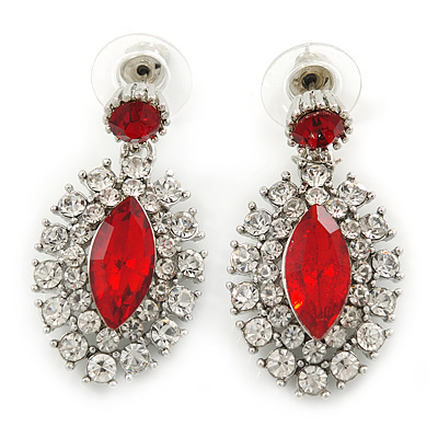 Prom/ Bridal Red/ Clear Austrian Crystal Oval Drop Earrings In Rhodium Plating - 38mm L - main view