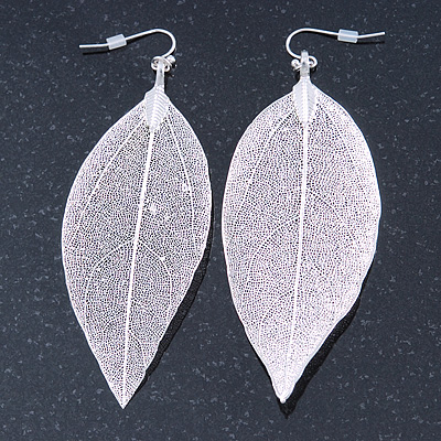 Silver Tone Filigree Leaf Drop Earrings - 85mm L - main view