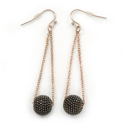 Black Ball With Gold Tone Chain Drop Earrings - 65mm L
