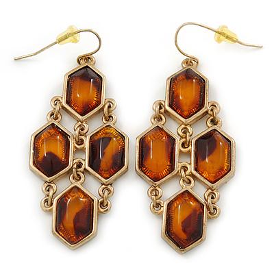 Animal Print Resin Chandelier Earrings In Gold Tone - 65mm L