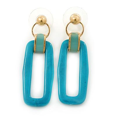 Teal Acrylic Rectangular Drop Earrings In Gold Tone - 45mm L