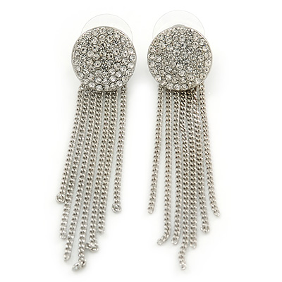 Silver Tone Clear Austrian Crystal Pave Set Button with Multi Chain Drop Earrings - 60mm L