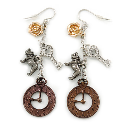 Clock, Key, Dog, Rose Charm Drop Earrings (Gold, Black, Bronze, Silver Tone) - 70mm L