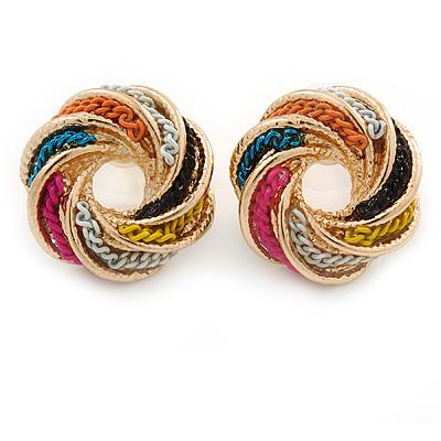 Multicoloured Chain Knot Stud Earrings In Gold Tone - 20mm Across