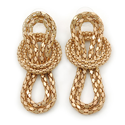 Mesh Knot Drop Earrings In Matte Gold Tone - 65mm L