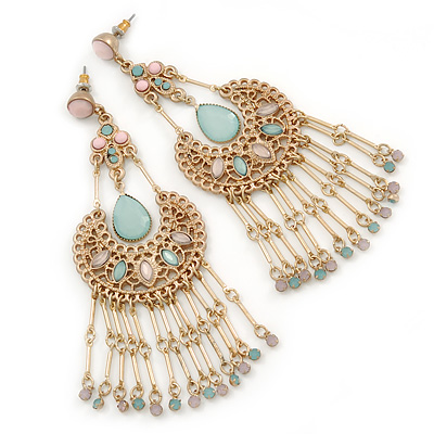 Vintage Inspired Pale Pink/ Pale Green Acrylic Bead Chandelier Earrings In Gold Tone - 10cm L