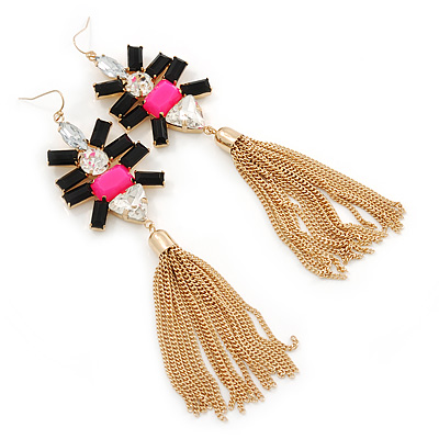 Long Black/ Pink/ Clear Acrylic Bead Tassel Earrings In Gold Tone - 13cm L - main view