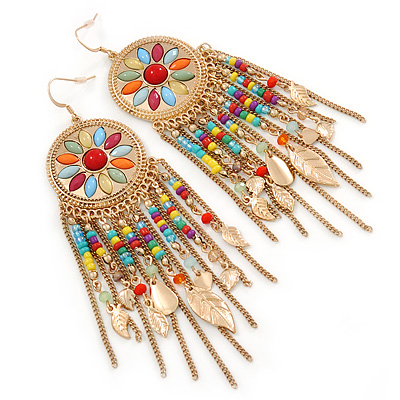 Multicoloured Bead, Chain Dangle Chandelier Earrings In Gold Plating - 13cm L