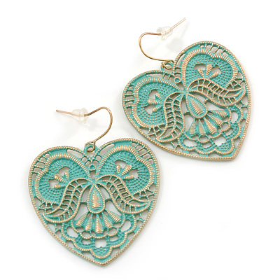 Mint Lacy Heart Drop Earrings In Gold Tone - 50mm L