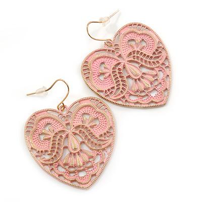 Light Pink Lacy Heart Drop Earrings In Gold Tone - 50mm L