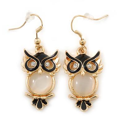Gold Tone Black Enamel, Cat's Eye Stone Owl Drop Earrings - 45mm L - main view