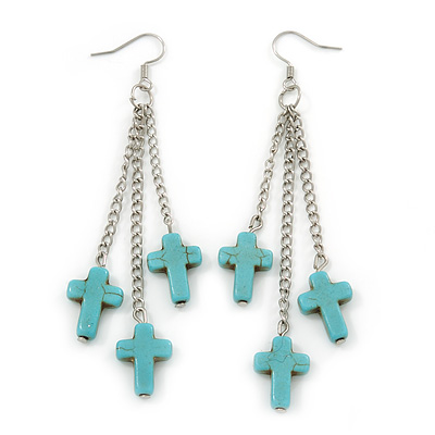 Turquoise Style Triple Cross Chain Dangle Earrings In Silver Tone - 90mm L