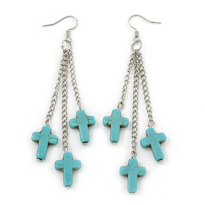 Turquoise Style Triple Cross Chain Dangle Earrings In Silver Tone - 90mm L - main view
