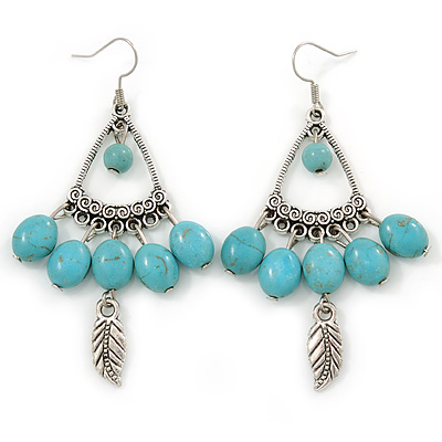 Vintage Inspired Turquoise Stone with Feather Drop Earrings - 70mm L