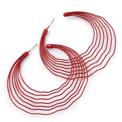 Dark Red Multi Layered Hoop Earrings - 60mm Diameter