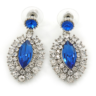 Prom/ Bridal Sapphire Blue/ Clear Austrian Crystal Oval Drop Earrings In Rhodium Plating - 38mm L - main view