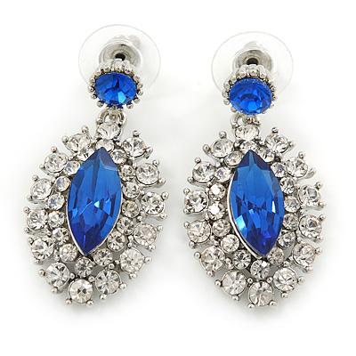 Prom/ Bridal Sapphire Blue/ Clear Austrian Crystal Oval Drop Earrings In Rhodium Plating - 38mm L