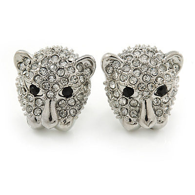 Clear Austrian Crystal Tiger Stud Earrings In Rhodium Plating - 17mm L