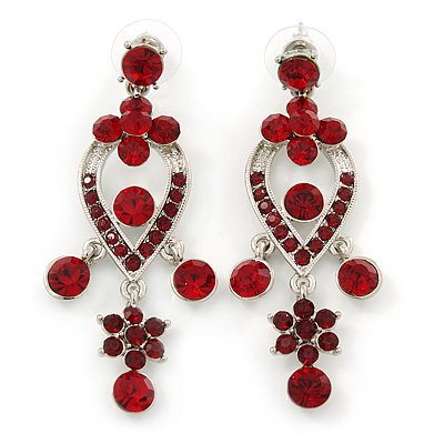 Ruby Red Austrian Crystal Chandelier Earrings In Rhodium Plating - 60mm L