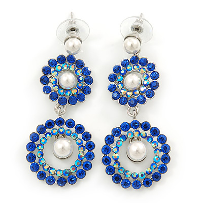 Sapphire Blue/ AB Austrian Crystal, Pearl Double Hoop Drop Earrings In Rhodium Plating - 55mm L