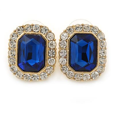 Gold Tone Clear, Dark Blue Crystal Square Stud Earrings - 23mm L
