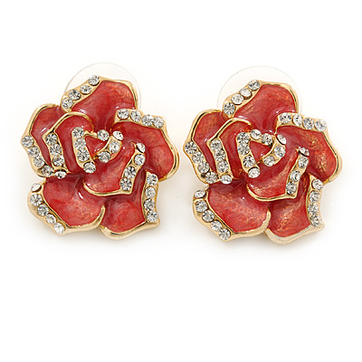 Pink Enamel Crystal Rose Stud Earrings In Gold Tone - 20mm Diameter - main view