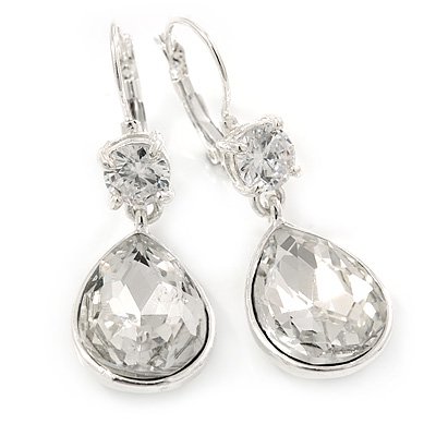 Clear CZ, Glass Teardrop Earrings With Leverback Closure In Silver Tone - 45mm L