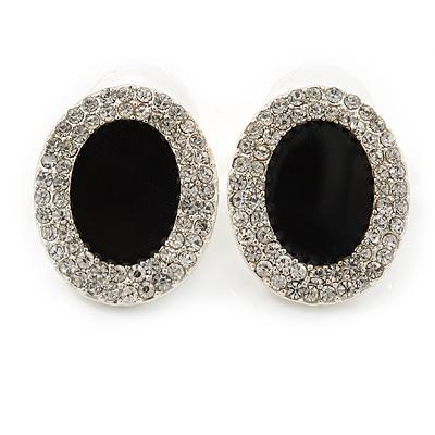 Crystal, Black Enamel Oval Stud Earrings In Rhodium Plating - 20mm L - main view