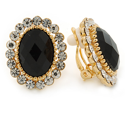Black/ Clear Crystal Oval Stud Clip On Earrings In Gold Plating - 23mm L