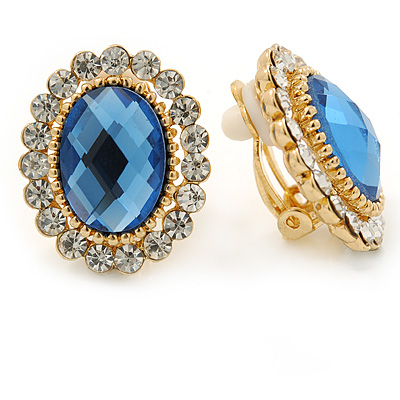 Blue/ Clear Crystal Oval Stud Clip On Earrings In Gold Plating - 23mm L