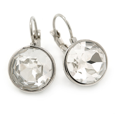 Clear Faceted, Glass Round Drop Earrings In Silver Tone With Leverback Closure - 25mm L