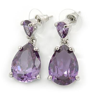 Bridal/ Prom/ Wedding Amethyst Cz Teardrop Earrings In Rhodium Plating - 30mm L