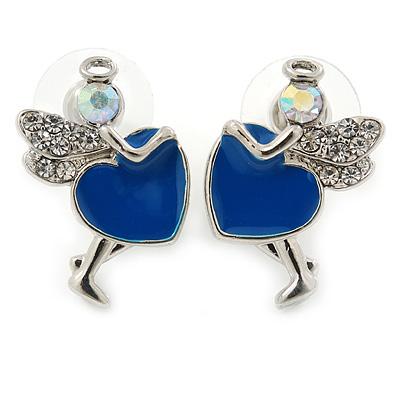 Funky Crystal Fairy with Blue Enamel Heart Stud Earrings In Rhodium Plating - 23mm L - main view
